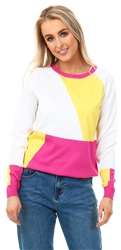 Qed Hot Pink Colour Block Knit Sweater