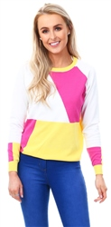 Qed Sunflower Colour Block Knit Sweater