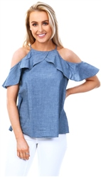 Veromoda Blue Denim Sleeveless Chambray Top