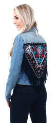 Noisy May Blue Embroidered Denim Jacket