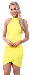 Ax Paris Yellow Choker Ruched Detail Dress