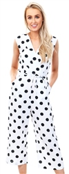 Ax Paris Cream Polka Dot Tie Waist Jumpsuit