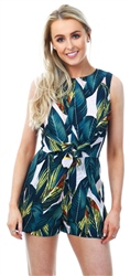 Ax Paris Tropical Leaf Tie Waist Playsuit