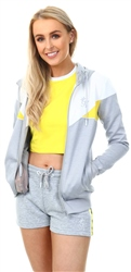 Gym King Grey/White/Yellow Ellie Poly Tracksuit Top