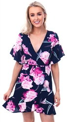 Ax Paris Navy Floral Front Frill Dress