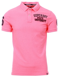 Superdry Fluro Pink Superstate Pique Polo Shirt