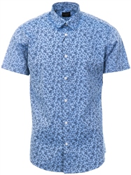 Selected Blue Paisley Print Short Sleeve Shirt