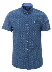 Alex & Turner Navy Printed Short Sleeve Shirt