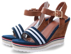 113850ae9684 Escape Navy Block Wedge Sandal