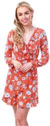 Missi Lond Orange Floral Frill Wrap Dress