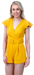 Girl In Mind Mustard Livvy V Neck Belt Playsuit