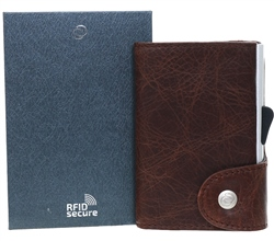 C Secure Brown Wallet With Coin Pocket