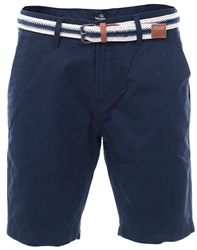Threadbare Navy Luton Belted Shorts