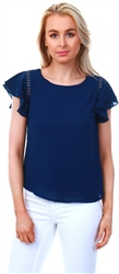 Cutie London Navy Crochet Frill Sleeve Top