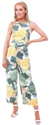 Girl In Mind Green Leaf Print Culotte Jumpsuit