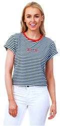 Jack Wills White / Navy Milsom Cropped T-Shirt