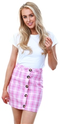 Parisian Pink Checked Button Mini Skirt