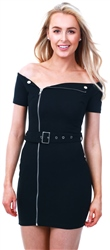 Parisian Black Zip Front Self Belt Biker Bardot Dress