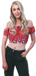 Parisian Red Floral Bardot Crop Top