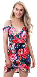 Parisian Floral Wrap Cold Shoulder Mini Dress