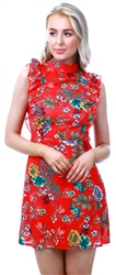 Parisian Red Floral Print Sleeveless Dress