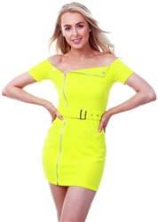 Parisian Neon Green Zip Front Self Belt Biker Bardot Dress