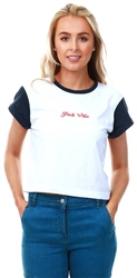 Jack Wills Navy / White Milsom Cropped T-Shirt