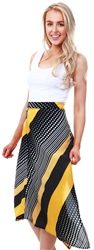 Ax Paris Yellow Multi Print Midi Skirt