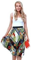 Missi Lond Floral Print Midi Pleat Skirt