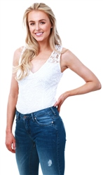 Ax Paris Cream Lace Sleeveless Bodysuit