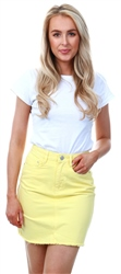 Brave Soul Lemon Denim Mini Skirt