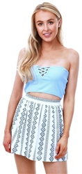 Brave Soul Fresh Blue Bandeau Sleeveless Top