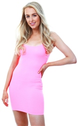 Parisian Neon Pink Scoop Neck Rib Mini Dress