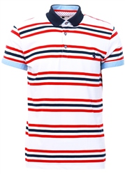 Alex & Turner White Red/ Navy Stripe Polo Shirt
