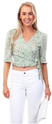 Brave Soul Green Floral Wrap Over Frill Top