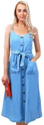 Only Light Blue Denim Strap Midi Dress