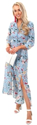 Style London Blue Floral Pattern Button Maxi Dress