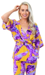 Jdy Purple / Mustard Floral Print Wrap Top