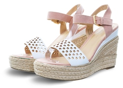Dv8 White Pink Panel Wedge Heel