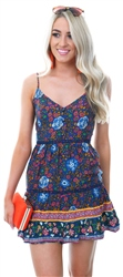 Parisian Navy Floral V Neck Tiered Mini Dress