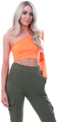 Parisian Neon Orange One Shoulder Crop Top