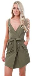 Parisian Khaki Button Trim Wrapover Mini Dress