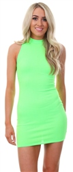 Parisian Neon Green Rib Sleeveless Mini Dress