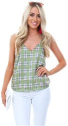 Glamorous Pink Chartreuse Check Cami Top
