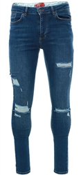 11degrees Mid Blue Essential Super Stretch Distressed Jeans