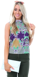 Glamorous Purple Ochre Print Sleeveless Top