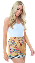Glamorous Ochre Large Bloom Floral Print Shorts