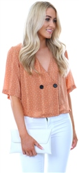 Glamorous Mocha Spot Button Short Sleeve Top