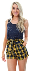 Parisian Yellow/Navy Check Paperbag Shorts