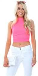Parisian Neon Pink Rib Knit High Neck Crop Top